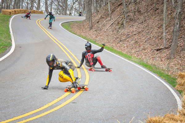 Downhill longboard racers at the 2015 NC Downhill Race at Mount Jefferson