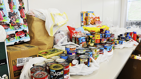 Stock photo of canned goods collected at a food drive