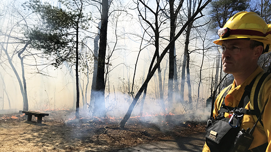 Ranger Austin Paul works a prescribed burn at Hanging Rock State Park.