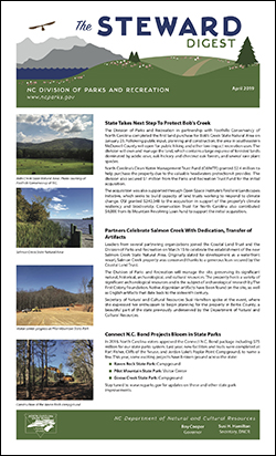 The Steward Digest – North Carolina State Parks Newsletter – April 2019 issue
