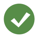 Icon representing a check sign with a green background