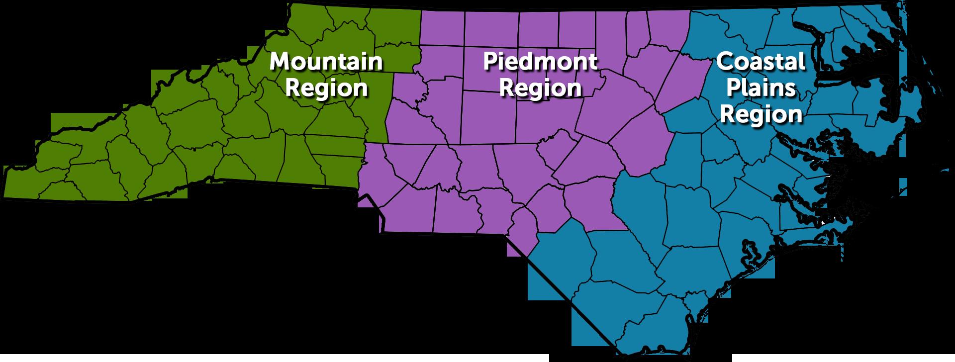 Map of North Carolina regions