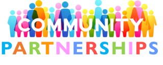 Picture of multi -colored symbol people with the word, Community Partnerships