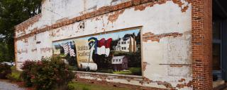 Mural of historic sites in the town of Halifax.