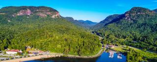 Aerial View of Lake Lure, North Carolina near Chimney Rock State Park