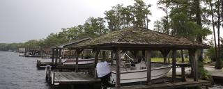 Moss-covered boat house