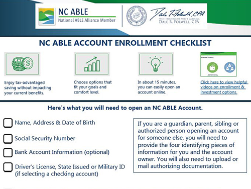 Graphic with a screenshot of the NC ABLE Account Enrollment Checklist