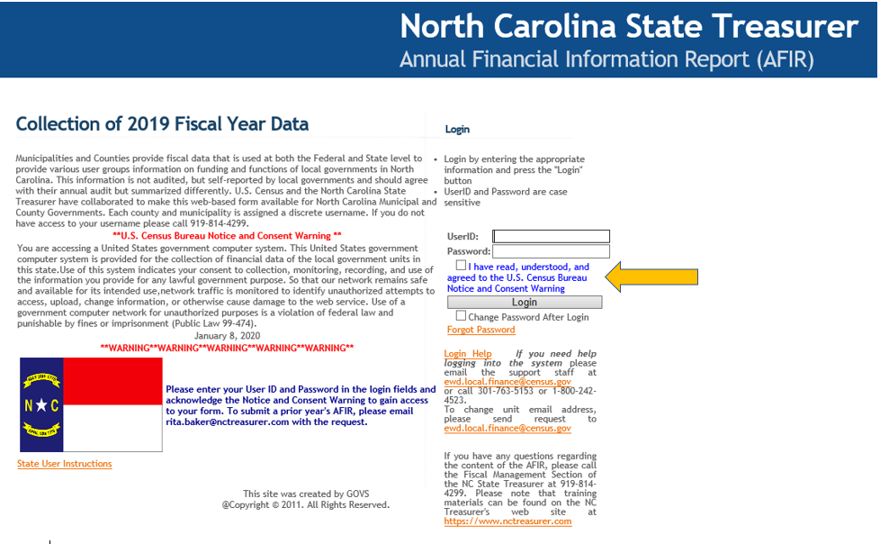 screenshot of US Census web page for North Carolina AFIR with yellow arrow pointing to where users need to check a box