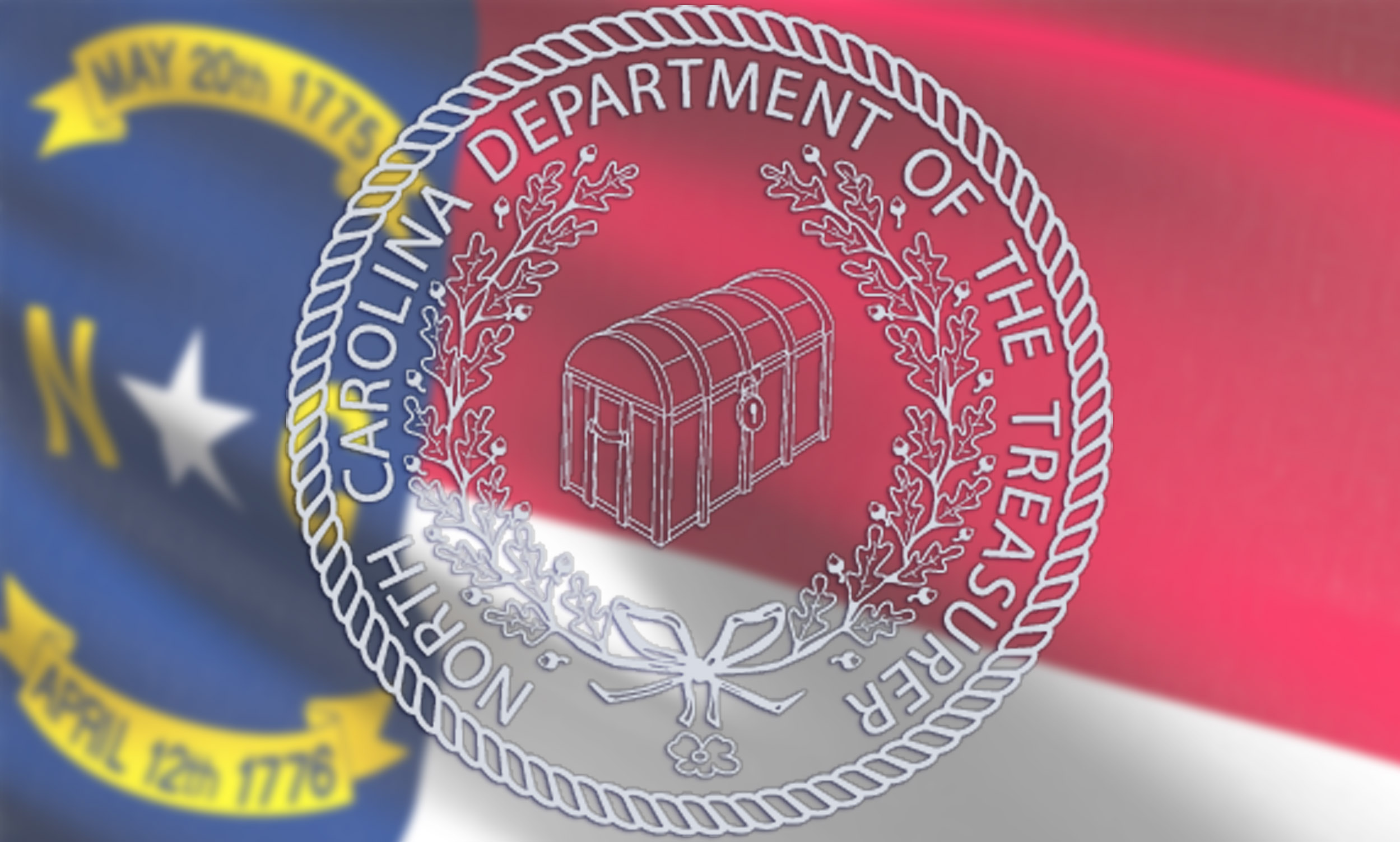 North Carolina flag with the Treasurer's seal on it