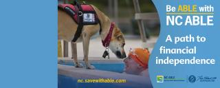 "Photo of service dog and swimmer in pool with ""A path to financial independence"" in text"