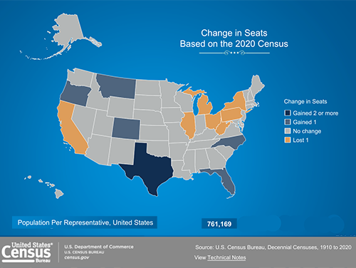 Census Bureau's Apportionment Map, from Census 2020 data