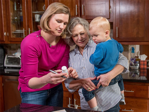 Mother and Grandmother with child and pill bottle