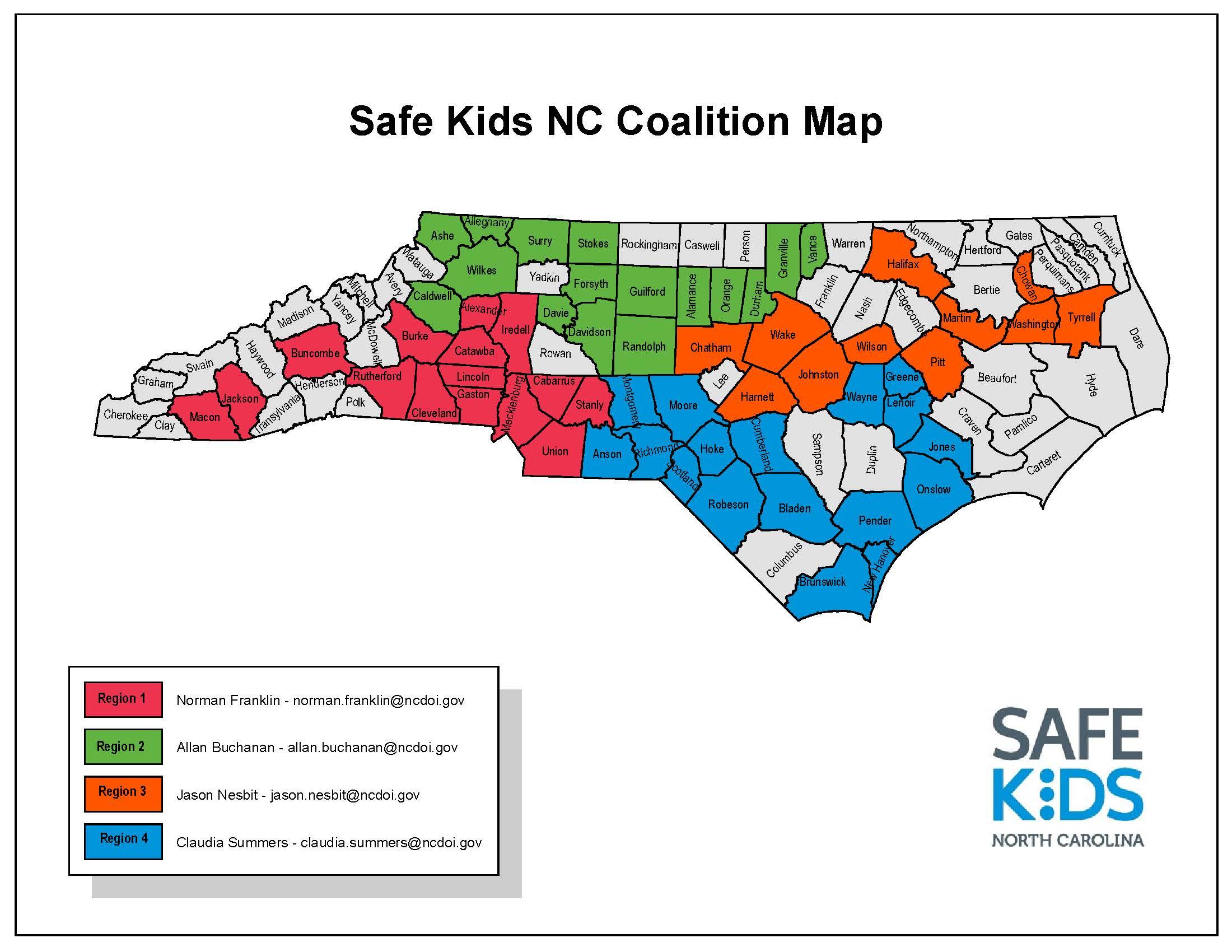 Safe Kids NC Coalition Map