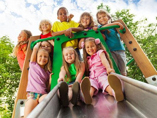 Group of children on a slide