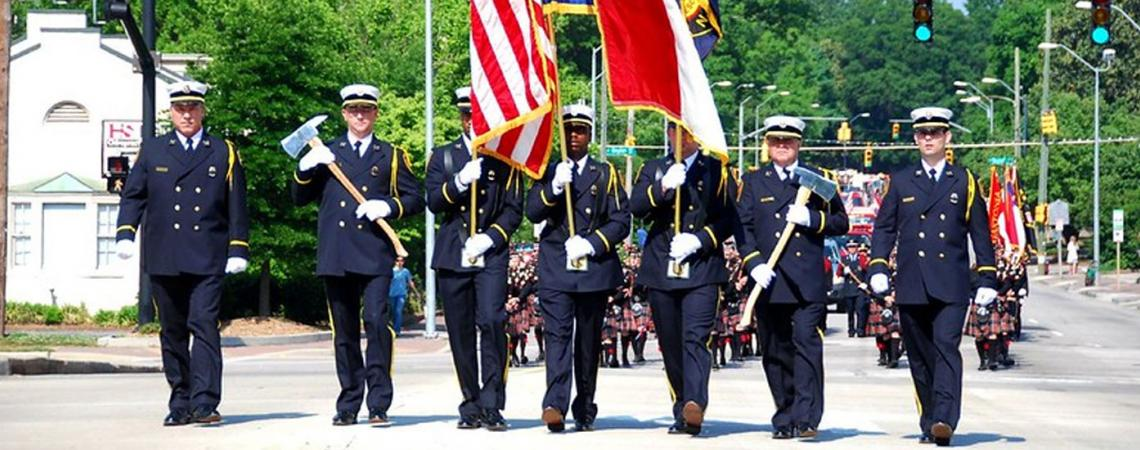 Firefighter funeral procession