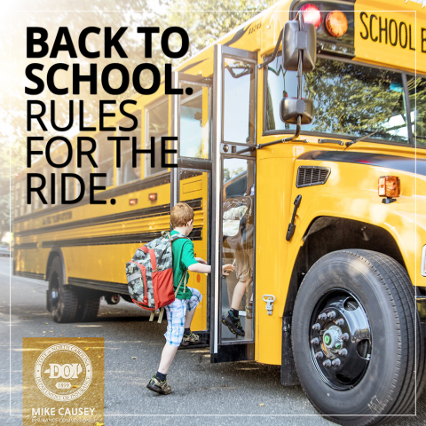 Bact to school rules for the ride graphic