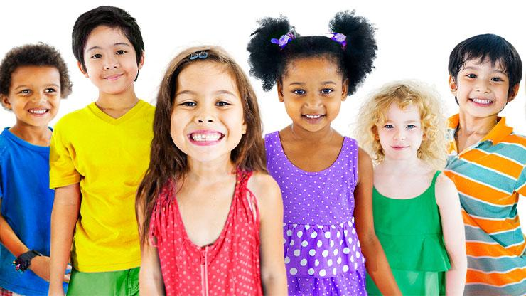 Group of kids in colorful clothing