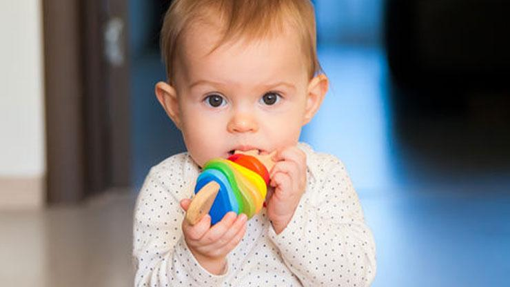 Child with toy in mouth