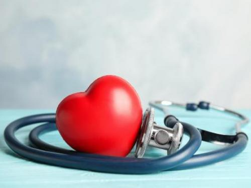 red plastic heart surrounded by stethoscope