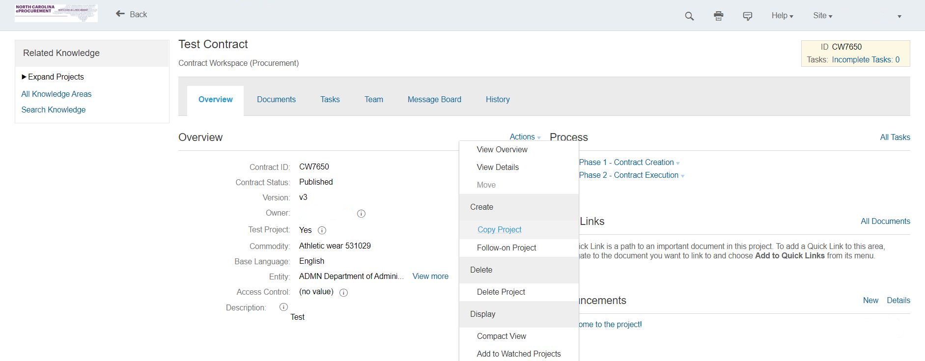 Create a copy of a contract workspace from the Contract Attributes page.