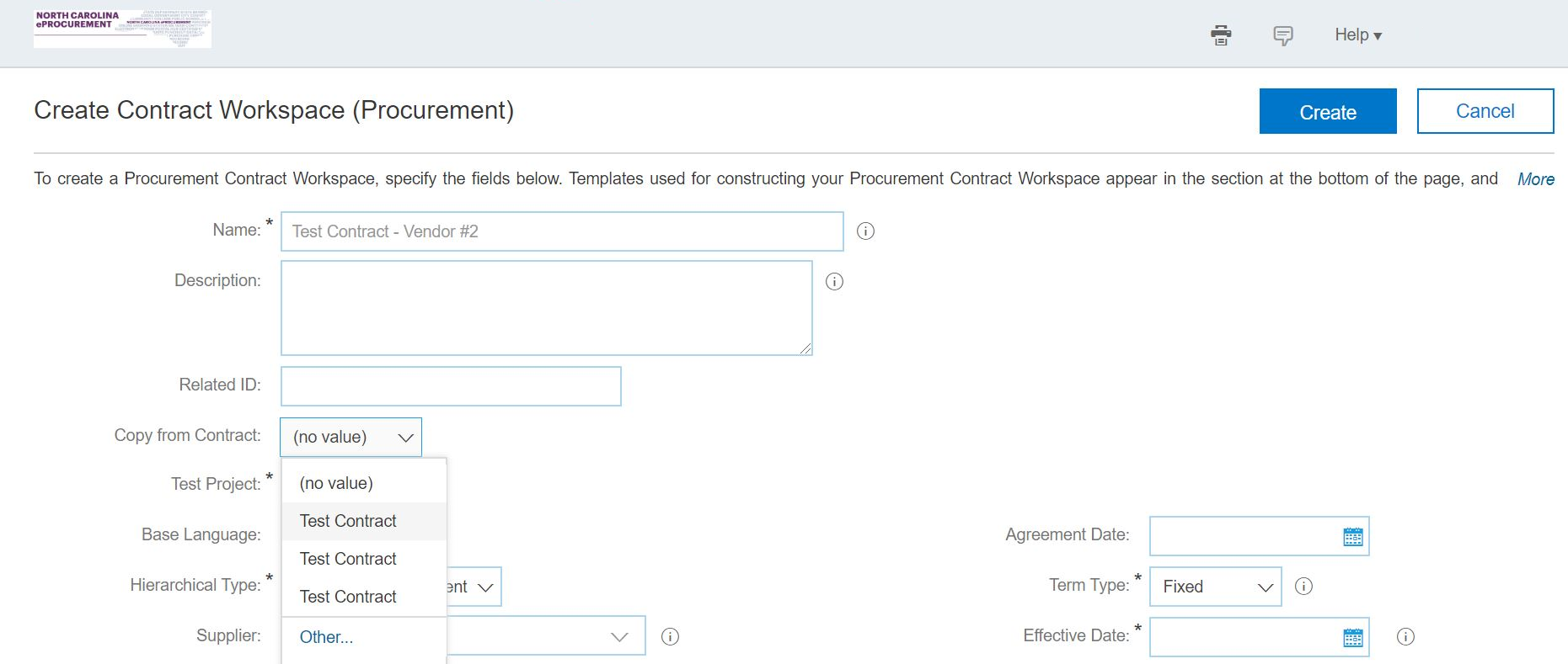 Create a copy of a contract workspace from the Create Contract Workspace page.