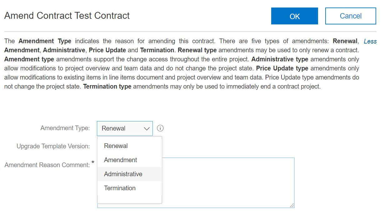 Dropdown menu showing four types of contract amendments.