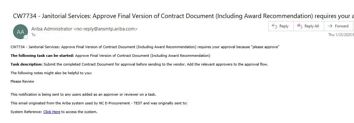 Example email to notify user to approve a contract document.