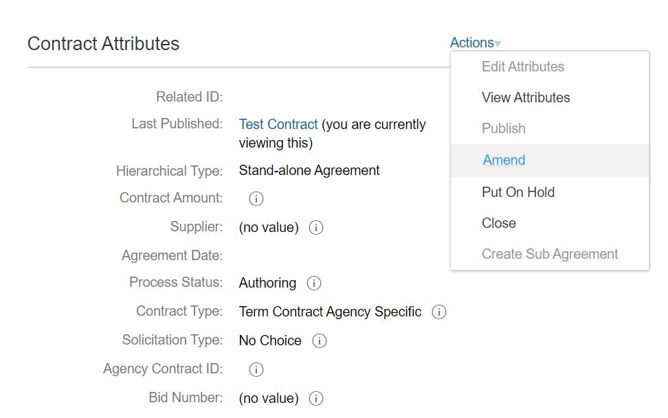 Dropdown menu showing the action to amend contract attributes.