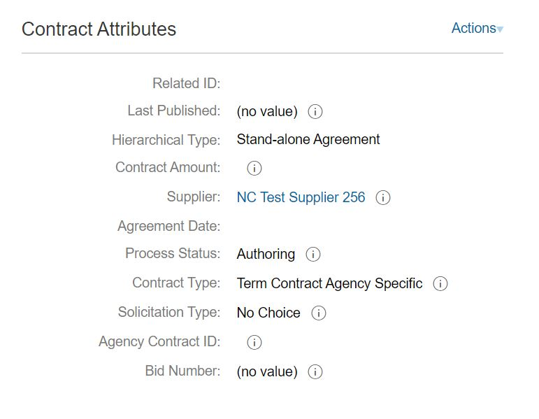 Contract Attributes showing only one vendor can be assigned to a Contract Workspace.