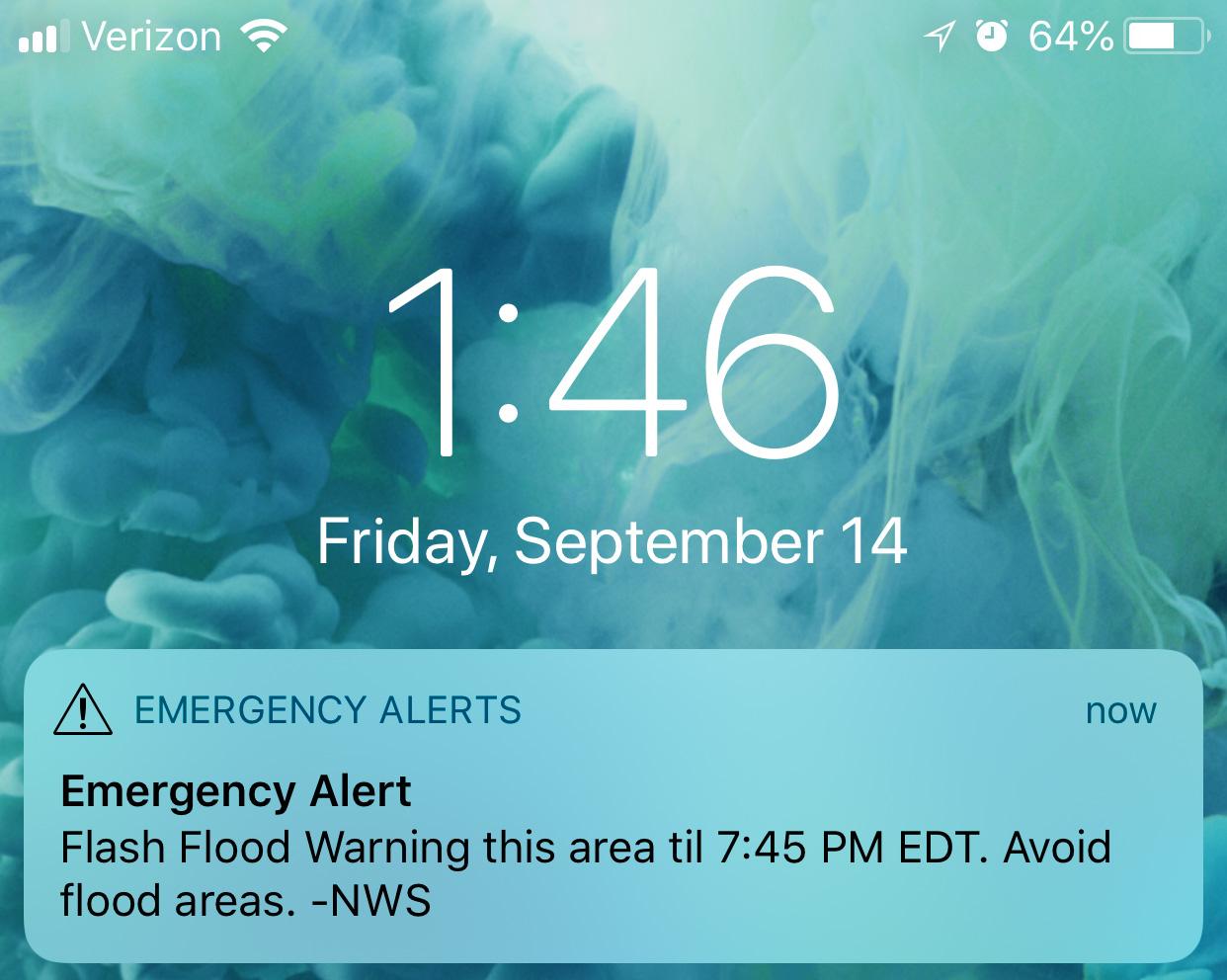 Cell phone screen shot of an Emergency Alert
