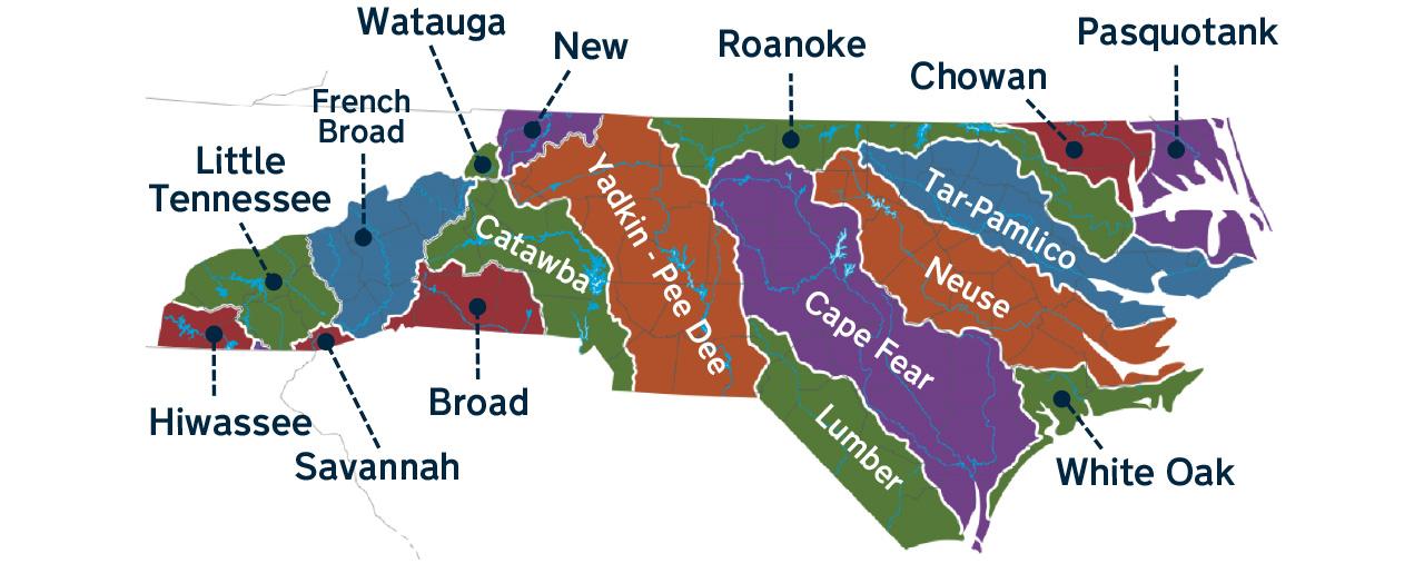 Map of North Carolina river basins