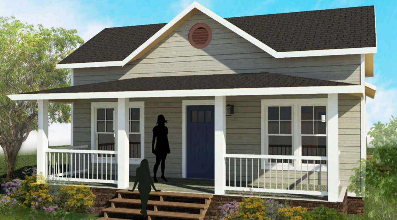 Exterior drawing of Clark I house