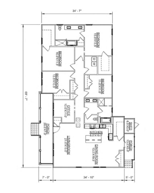 Floor plan of Hank model