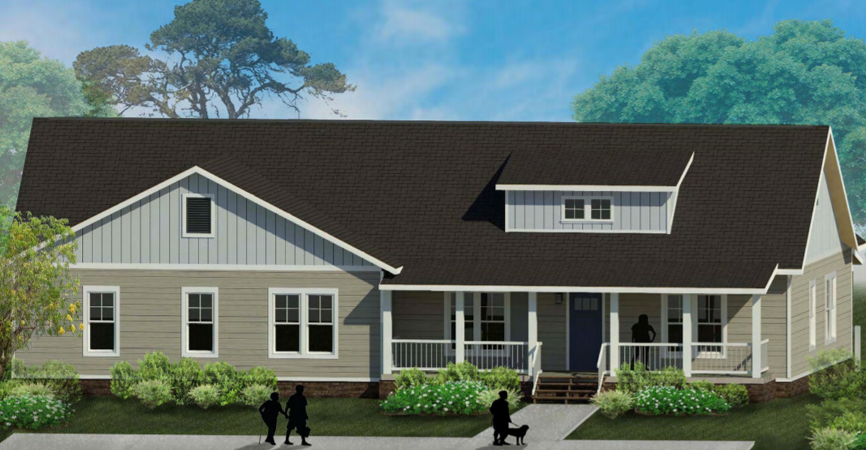 Exterior drawing of Hank house