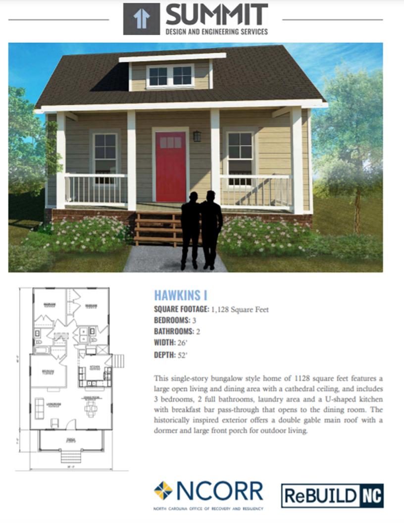Hawkins floorplan and facade