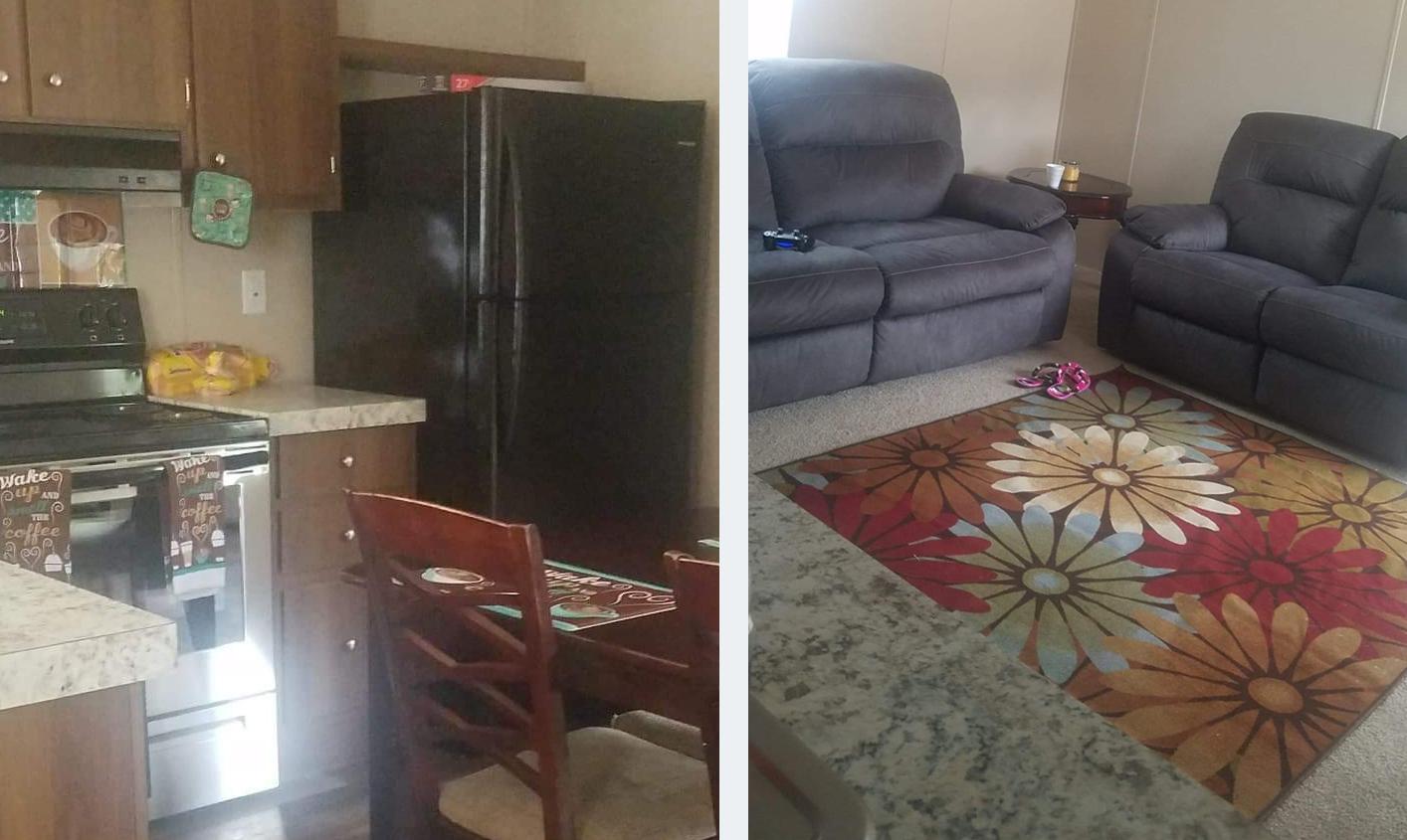 Latoi Jones' kitchen and living room