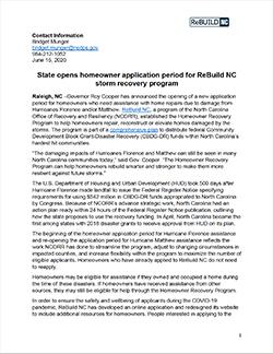 Homeowner Recovery Program media release