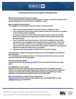 Homeowner Recovery Program talking points