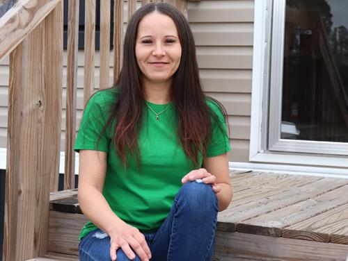 Chasity Locklear sitting on porch steps