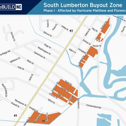 South Lumberton: Br Little St y t S South Lumberton Buyout Zone Phase I - Affected by Hurricane Matthew and Florence. 41 41 South of W 2nd St, East of MLK Drive and West of the Lumber River