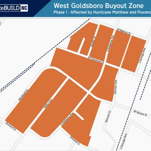 West Goldsboro: East of railroad tracks, West of South Georgia Ave and Kennon Ave, North of Orchard St and Sherard Ct, South of West Walnut St