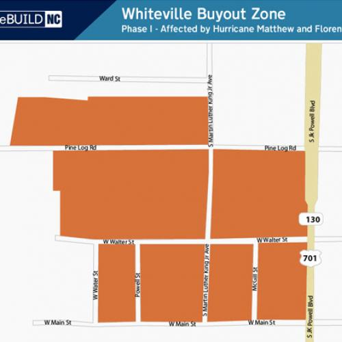 Whiteville Buyout Zone: W. Virgil Street to W. Main Streetand S. JK Powell Road to the West Baptist Church