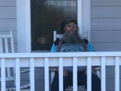 Allen Britt on his front porch