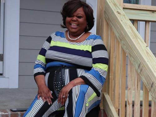 Antoinette Croom on her front porch
