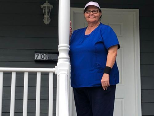 Cheryl Oxendine on her front porch