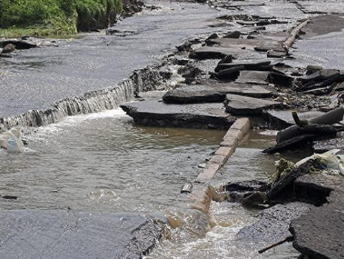Damaged and flooded roadway