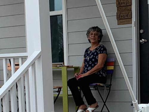 MaDolores Robles-Galvan on her front porch