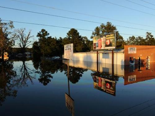 Flooded storefront