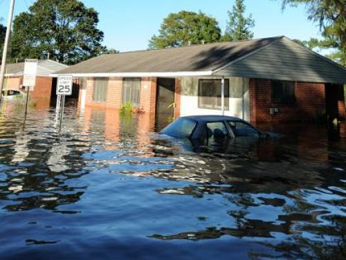 House in flooded waters