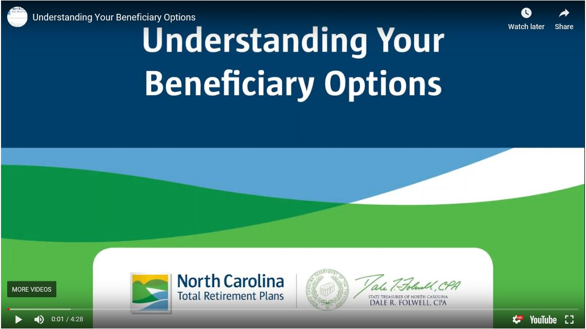 "graphic showing first slide of video presentation ""Understanding Your Beneficiary Options"""